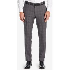 Boss Men's Slim-Fit Glen Check Dress Pants ($225) ❤ liked on Polyvore featuring men's fashion, men's clothing, men's pants, men's dress pants, darkgrey, mens slim fit suit pants, mens slim fit dress pants, mens slim pants, mens slim fit pants and mens patterned pants