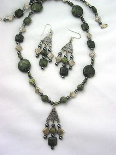 On sale, save 15%!!! Russian Serpentine and Hematite Necklace and Earrings