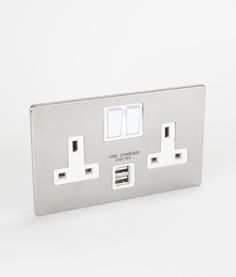 silver double plug socket usb 2 gang silver u0026 white