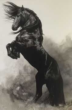 Fine Art Giclée Print 'WindStorm' - Belezza,animales , salud animal y mas Painted Horses, Horse Drawings, Animal Drawings, Pretty Horses, Beautiful Horses, Arte Equina, Art Watercolor, Horse Artwork, Horse Paintings