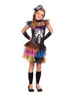 Disfraz de esqueleto tutú colores niña Halloween: Este disfraz de esqueleto de colores para niña incluye vestido, pinza, manguitos y calentadores (zapatos no incluidos).La parte superior del vestido es negra con estampado de esqueleto.El...