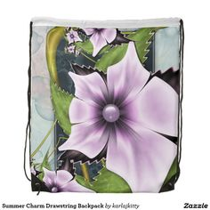 Summer Charm Drawstring Backpack  More products with a similar design: http://www.zazzle.com/karlajkitty/summer%20%22charm%22?q=summer%20%22charm%22  romantic pretty lavender pink purple glow shine pearl marbled flower fractal floral bloom