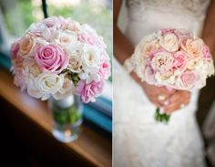 Pretty Mixed Pastel Rose Wedding Bouquet