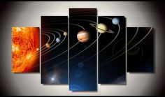Style Your Home Today With This Amazing 5 Panel Framed Solar System Wall Canvas For $200.00  Discover more canvas selection here http://www.octotreasures.com  If you want to create a customized canvas by printing your own pictures or photos, please contact us.