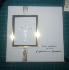 Confirmation and Communion card, bling cross, gold Confirmation Cards, Baptism Cards, Sympathy Cards, Greeting Cards, Invitation Cards, Invitations, First Holy Communion, Gender Neutral, I Card