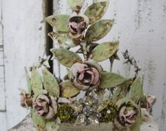 Metal crown tiara with garden roses and vines home and statue decor anita spero