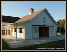 Three Stall Horse Barn With Tack and Feed. Horse Barn Plans for sale. Large selection of Horse Barn Plans For Sale. Small Horse Barns, Barn Layout, Horse Barn Designs, Horse Barn Plans, Barn Shop, Horse Stables, Horse Farms, Dream Barn, Farm Barn