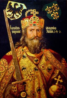 The crown of Charlemagne, crowned the first Holy Roman Emperor in he's shown wearing it in this 1512 portrait by Albrecht Durer. French History, European History, World History, Nasa History, Wilhelm Ii, Kaiser Wilhelm, Albrecht Durer, Kaiser Karl, Historia Universal