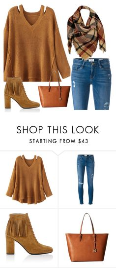 """camel."" by valemx ❤ liked on Polyvore featuring WithChic, Frame Denim, Yves Saint Laurent, MICHAEL Michael Kors, Sylvia Alexander, Boots, brown, scarf and tunic"