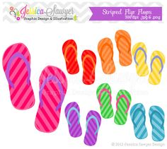 INSTANT DOWNLOAD - flip flop clip art - beach clipart - summer clip art - commercial use - card making