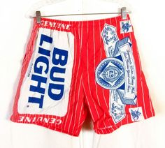 9f91e01edc2a59 vtg 80s Carabella All Over Print Bud Light   Budweiser Beer Swim Trunks AB  sz M