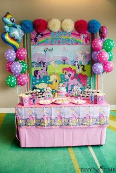Fun dessert table at a My Little Pony birthday party! See more party planning ideas at CatchMyParty.com!