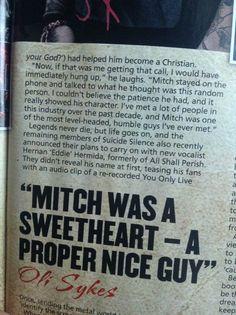 Oli talking about Mitch Silence Lyrics, Good Music, My Music, Craig Owens, Just Lyrics, Dont Judge People, Mitch Lucker, Oli Sykes, Gives Me Hope