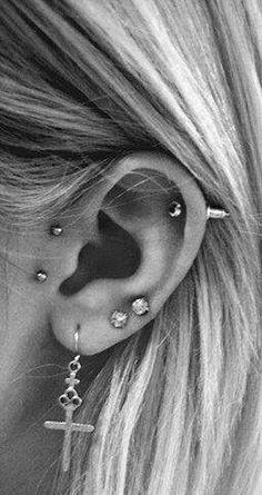 Cool Ear Piercing Ideas at MyBodiArt.com - Screw Cartilage Barbell Stud - Cross Earring Jewelry