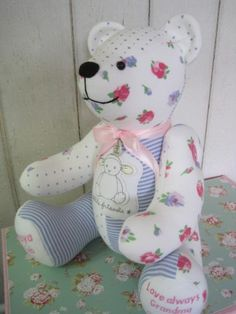Keepsake memory bear made from baby clothes. Remembrance bear, loved ones clothing