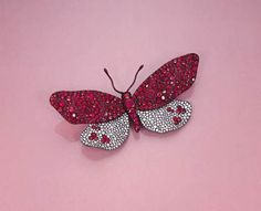 A DIAMOND, RED SPINEL AND RUBY BUTTERFLY BROOCH, BY JAR