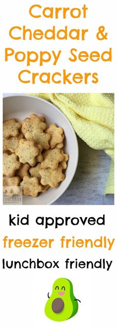 Carrot Cheddar and Poppy Seed Crackers are great for school lunches. This is big recipe that is freezer friendly so fantastic for doing bulk baking via @goodielunchbox