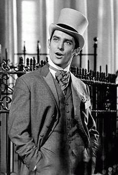 very very young Jeremy Brett, before Sherlock Holmes. In My Fair Lady 1964 Jeremy Brett, My Fair Lady, Sherlock Holmes, Granada, Cecil Beaton, Sharp Dressed Man, Classic Movies, Costumes For Women, Costume Design