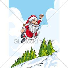 Cartoon Santa Flying Like Super Above Snowy Lan. Christmas Cartoon Pictures, Christmas Cartoons, Santa, Illustration, Fictional Characters, Illustrations, Fantasy Characters