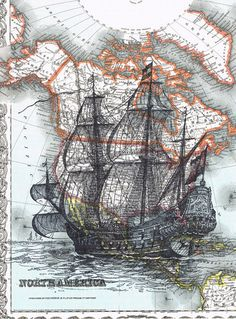 Map.Sailboat.ship.Birthday gift art Book Page