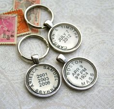 Custom Postmark Keychain - Personalized Postage Keychain - Custom Dates Location or Names for Birthday Wedding Anniversary Childrens Names. $24.00, via Etsy.