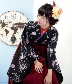 【1736-S1】小振袖&袴セット 【小振袖 1495 × 袴 HC-C】|ハカマガールズ