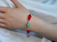 Natural Stone Bracelet, Genuine Turqoise Barrel and Round beads, Red Coral chip beads, silver tone beads