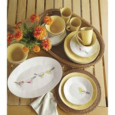 Earn back in rewards with the Crate & Barrel credit card. Effortlessly set a stylish table with serving platters from Crate & Barrel. Yellow Dinner Plates, Yellow Plates, Yellow Dinnerware, Dinnerware Sets, Small Plates, Decorative Plates, Perfect Breakfast, Breakfast Set, Christmas Plates