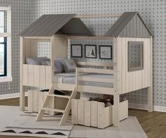 Zoomie Kids Schock Full House Low Loft Twin Platform Bed with Dual Underbed Drawers Casa Loft, Loft House, Twin Bunk Beds, Kid Beds, House Beds For Kids, Cool Beds For Boys, Loft Bed Frame, Full Platform Bed, Low Loft Beds