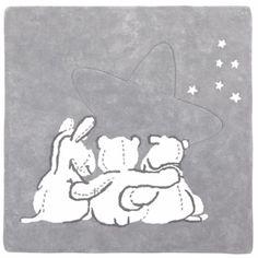 Tapis coton gris et blanc Poudre d'étoiles 3 personnages