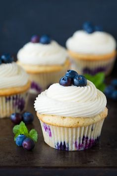 Blueberry Cupcakes with Cream Cheese Frosting - cookingclassy.com