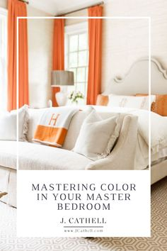 When decorating a room, color accents are the fastest way to change your surroundings. You'll find orange in my master bedroom to bring cheer. Learn my tips for decorating with color accents and shop this room here at J Cathell Accent Colors, Home Goods, Master Bedroom, Furniture, Home Decor, Master Suite, Decoration Home, Colour Shades, Room Decor