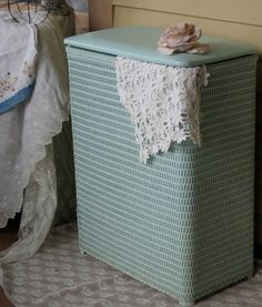 Vintage Laundry Hamper / Vintage Mint Green Pearl by Fannypippin,