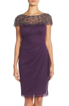 Xscape Beaded Side Ruched Cocktail Dress (Regular & Petite) available at #Nordstrom