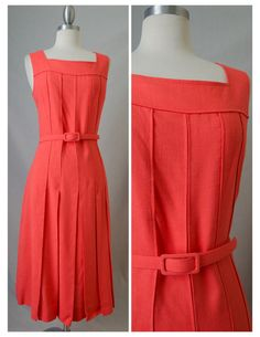 60s Doncaster Vintage Orange Day Dress With by RedLightVintageShop