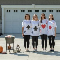 A white shirt, Duck Tape, and a few accessories are all you need to create a DIY playing card costume for a homemade, easy or last-minute Halloween costume. Halloween Costumes For Teens Girls, Cute Group Halloween Costumes, Teacher Costumes, Homemade Halloween Costumes, Halloween Outfits, Group Costumes, Diy Halloween, Halloween Decorations, Playing Card Costume