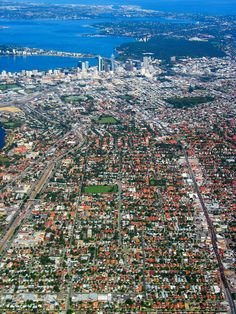 A striking aerial view of Perth WA and surrounding suburbs. Perth Western Australia, Australia Travel, Places Around The World, Around The Worlds, Great Places, Beautiful Places, City Of Adelaide, Aerial View, City Photo