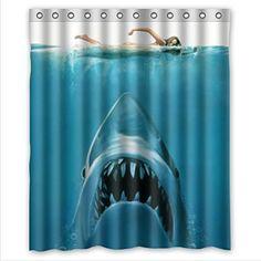 Jaws shark shower curtain and liners modern bathroom jaws shark shower