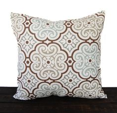 Throw pillow cover cushion cover gray brown light blue brown white pillow case…