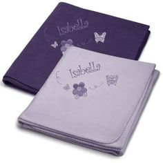 Embroidered Butterflies & Flowers Fleece Blankets , Add a Monogram, Name or Initials