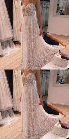 Beaded Prom Dresses, Lace Appliques Prom Dresses, Prom Dresses A-Line Prom Dresses, Spaghetti Straps Prom Dresses, Light Champagne Prom Dresses Straps Prom Dresses, Beaded Prom Dress, A Line Prom Dresses, Formal Dresses For Women, Spaghetti Strap Dresses, Evening Dresses, Bridesmaid Dresses, Spaghetti Straps, Dress Prom