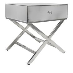 The drawer connects to the cross legged base for easy disassembling when needed. Made from MDF, mirror and metal, this table is durable and strong while still being light enough for you to easily move it around as needed. Stylish Bedroom, Modern Bedroom, Mirrored Bedroom Furniture, Interiors Online, Luxury Living, Bedside, Bassinet, Mirror Mirror, Drawer