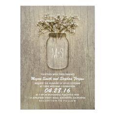 Baby's Breath Mason Jar Rustic Wedding 5x7 Paper Invitation Card