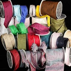 Bordeaux Red Crinkled Satin Silk Wired Craft Ribbon 2 x 27 Yards >>> For more information, visit image link.