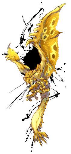 claws gold_rathian highres monster monster_hunter rathian ryuuta_(ipse) scales solo tail wyvern yellow_eyes