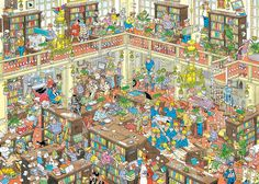 Falcon Jumbo Jigsaw Puzzles: The Library by Jan Van Haasteren at the Jigsaw Puzzle Shop Happy Birthday Jan, Puzzle Shop, Puzzle Art, Local Library, Fun Challenges, Puzzle Pieces, 1000 Piece Jigsaw Puzzles, City Photo, Entertainment