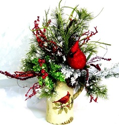 Cardinal Bird Winter Floral Arrangement by Cabin Cove Creations ....CUSTOM ORDERS WELCOME....If sold please stop by the cabin and check out all my unique designs...and if you like my work just take a minute to say hey!  click here---->>  http://www.etsy.com/shop/cabincovecreations?ref=si_shop