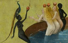 Hieronymus Bosch - The Garden of Earthly Delights, center panel - detail of women with peacock