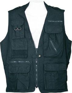 a578c888421 Humvee Safari Vest Black XXLarge Black Tactical Vest