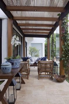 Patios must show charm as well as coziness. Roof design for patios is on… Outdoor Pergola, Wooden Pergola, Backyard Pergola, Pergola Kits, Outdoor Rooms, Outdoor Living, Outdoor Decor, Pergola Ideas, Pergola Roof
